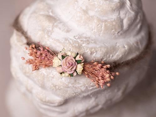 Pink and Brown Rose Newborn Tieback Headband