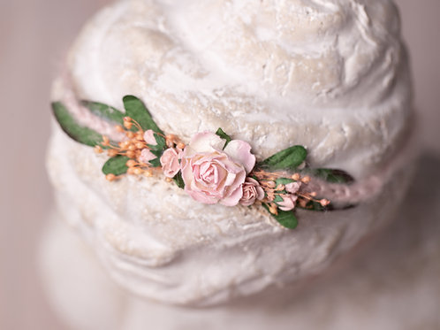 Large Pink Rose with Large Leaf Newborn Tieback Headband