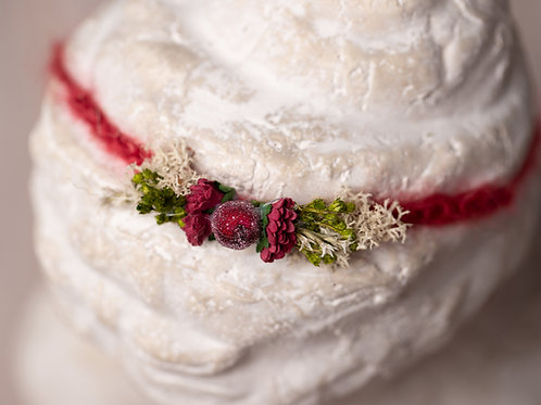 Christmas Red Berry Newborn Tieback Headband