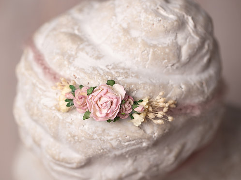 Large Pink Rose Newborn Tieback Headband