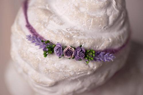 Purple Lavender & Rose Newborn Tieback Headband