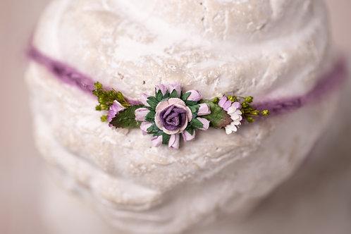 Purple Rose Newborn Tieback Headband