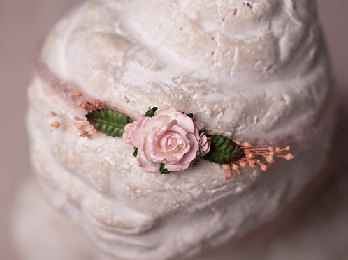 copy of Large Pink Rose with Small Leaf Newborn Tieback Headband