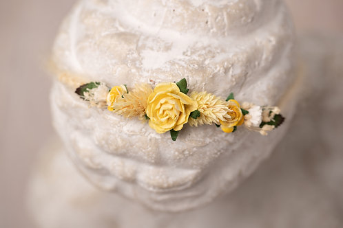 Large Yellow Rose and Dried Flower Newborn Tieback Headband