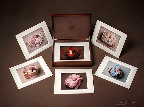 Newborn Folio Box With Professional Mounted Prints and Engraved USB