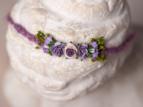 Small Purple Rose Newborn Tieback Headband