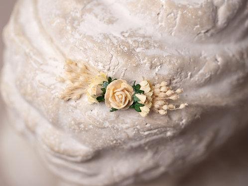 Cream Ivory Rose Newborn Tieback Headband