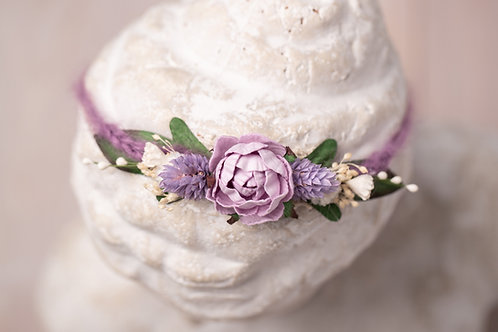 Purple Peony Newborn Tieback Headband