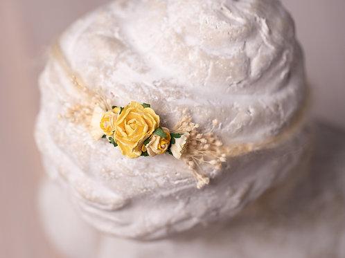 Large Yellow Rose Newborn Tieback Headband