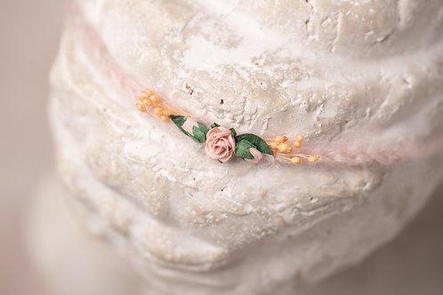 Dainty Pink Rose Newborn Tieback Headband