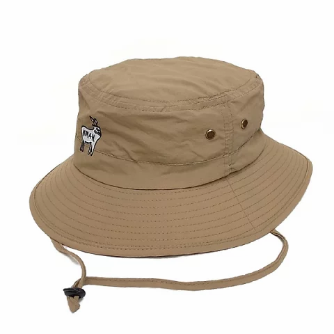 KM4K SAFARI STAFF HAT 帽子 サファリハット あご紐付き (ベージュ グレー)フリーサイズ