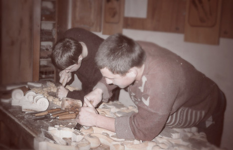 With a friend, a woodcarving school