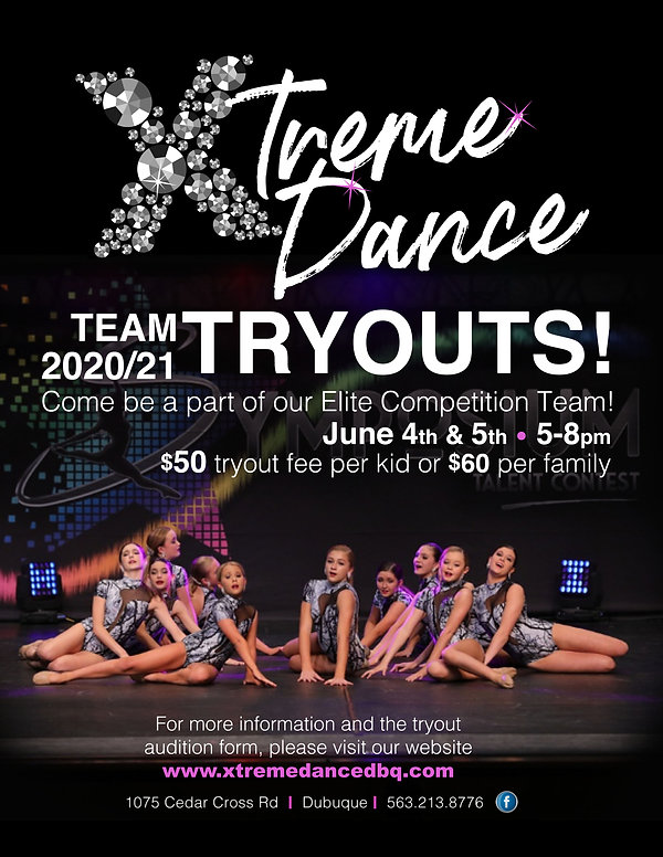 04 2020 Xtreme Dance TRYOUT POSTER - off