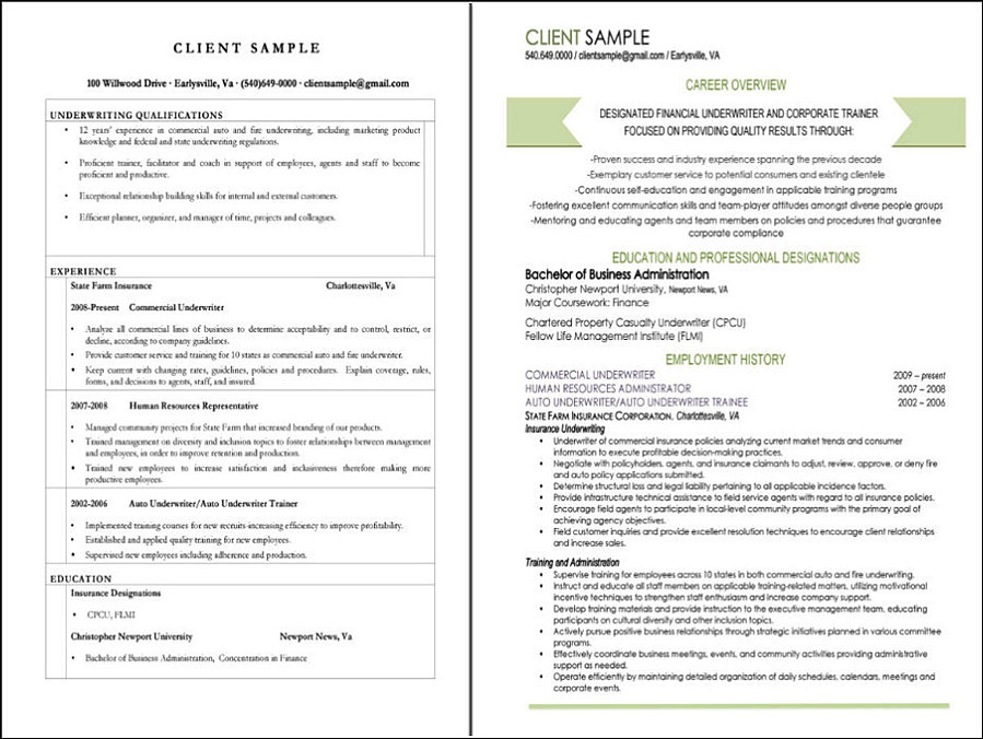 Underwriter Resume Sample. Get A Professional Resume Best Good