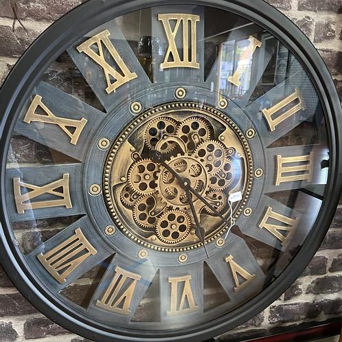 72cm wide black case gear clock