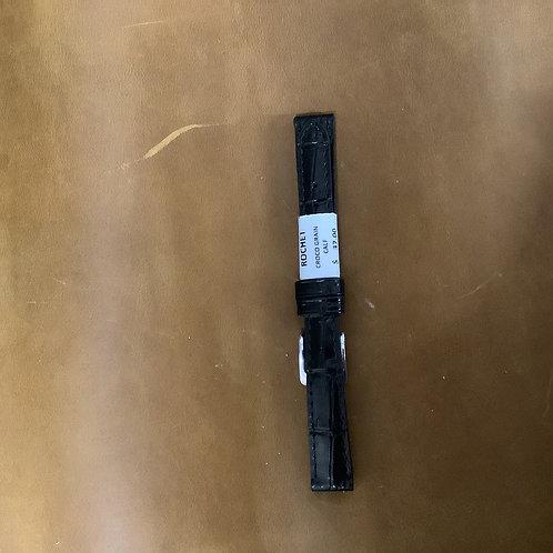 12mm croco grain calf black leather  band