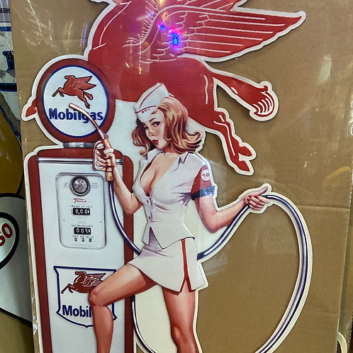 Large 80cm tall mobile gas tin sign
