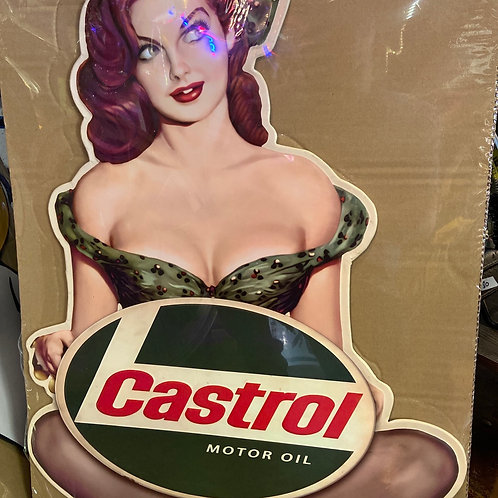 Large castrol tin sign 80cm tall