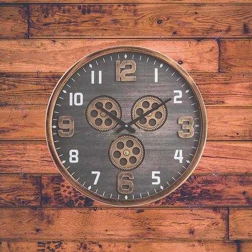 Industrial gear clock 46cm wide