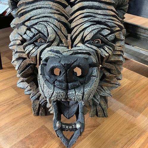 Bear head clay sculpture