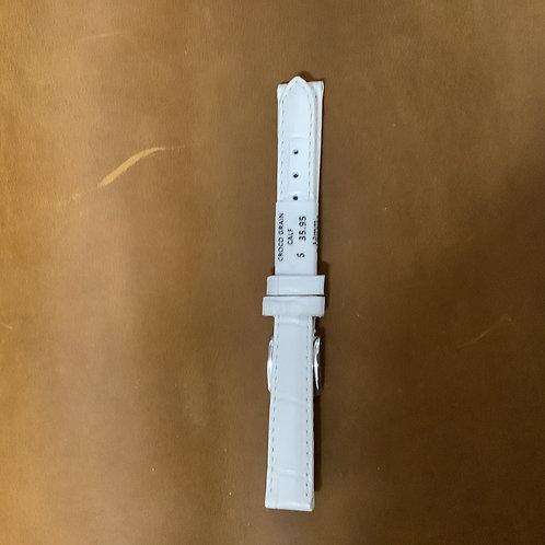 12mm croco grain calf white leather  band