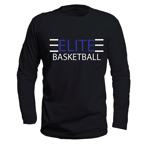 ELITE 1 Black Long Sleeve Dri-Fit with Blue and White Lettering