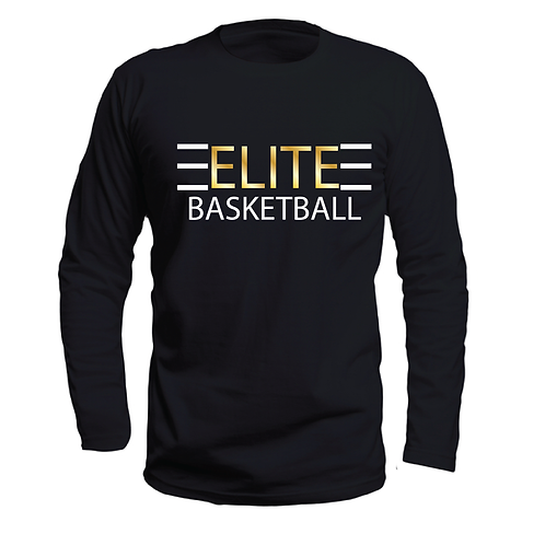 ELITE 1 Black Long Sleeve Dri-Fit with Gold and White Lettering
