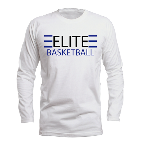 ELITE 1 White Long Sleeve Dri-Fit with Black and Blue Lettering