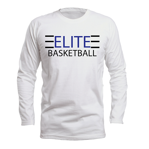 ELITE 1 White Long Sleeve Dri-Fit with Blue and Black Lettering