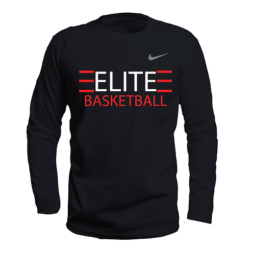 ELITE 1 Black Long Sleeve Dri-Fit with White Lettering