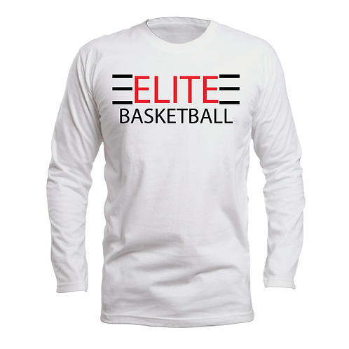 ELITE 1 White Long Sleeve Dri-Fit with Red and BlackLettering