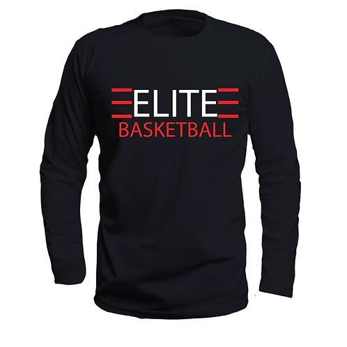 ELITE 1 Black Long Sleeve Dri-Fit with White and Red Lettering