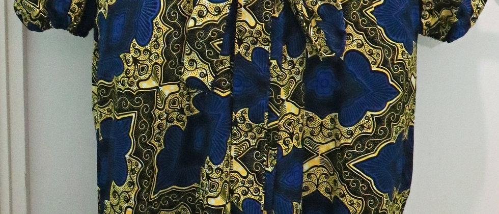 African Print  V Neck Cold Shoulder Balloon Sleeve Dress