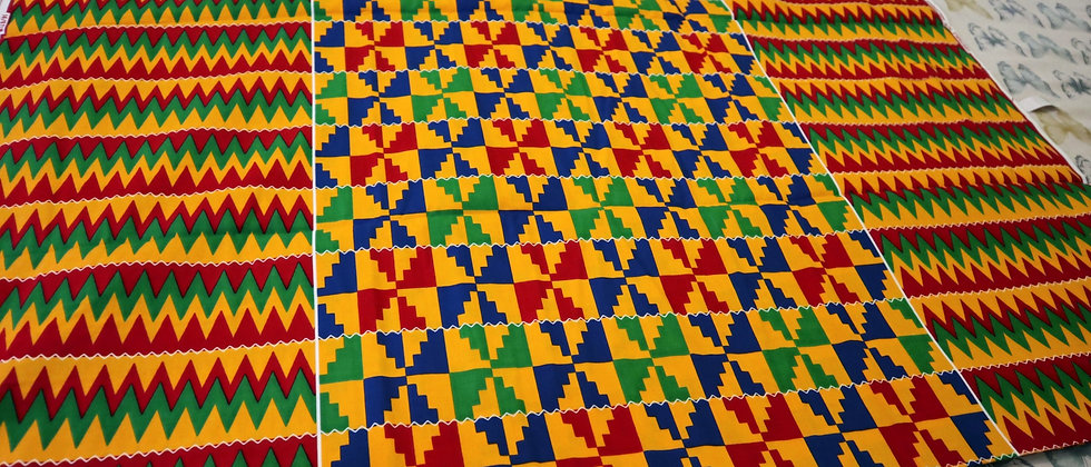KENTE Fabric - Multi-Colour African Kente Ghana cloth print