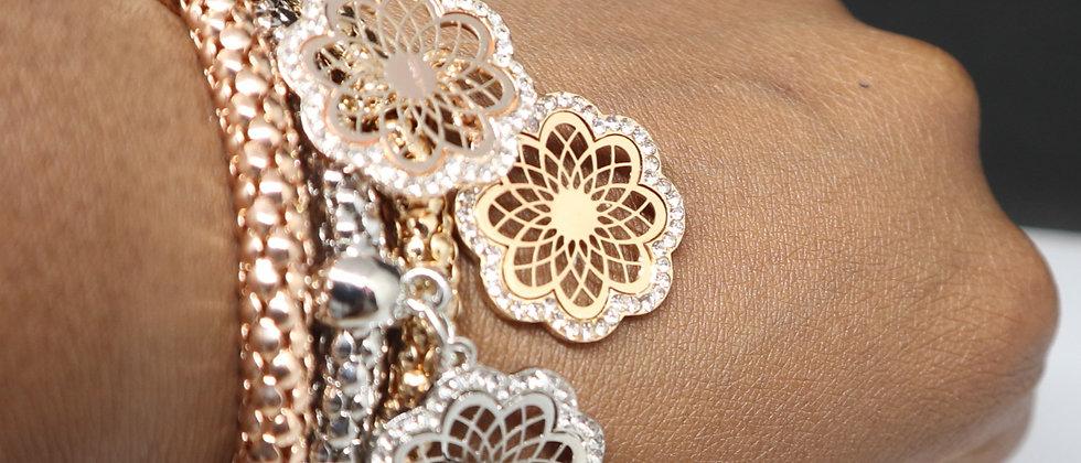 3 Pcs Crystal Flower Detail Elasticated Bracelet