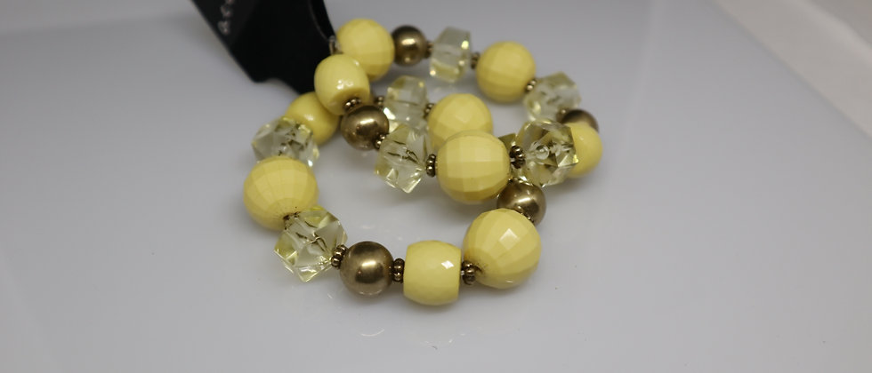 2PCS Yellow Bead Glass and Gold Beads Elasticated Bracelet