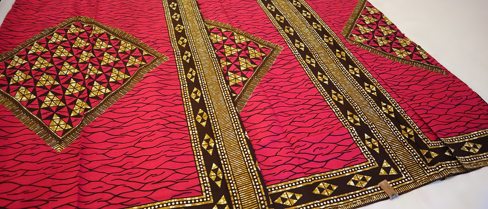 Ankara Fabric, Broken Pieces design African Print Fabric Hot Fuchsia Pink