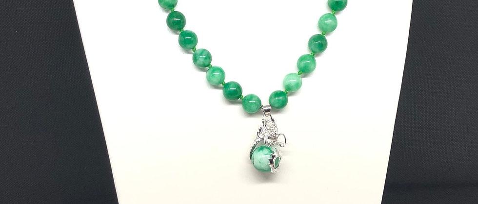 Exquisite Jade Stone With Dragon Pendant/Earring Design JewellerySet