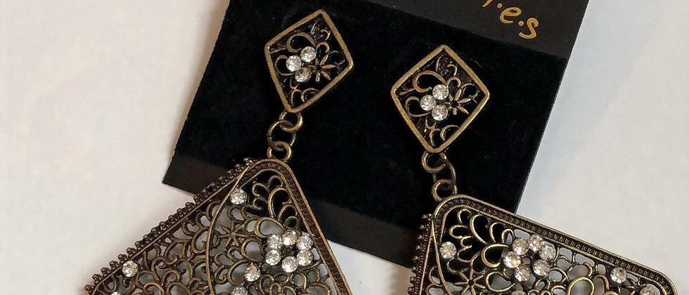 Burnished Gold Diamanté Dangle Drop Earring
