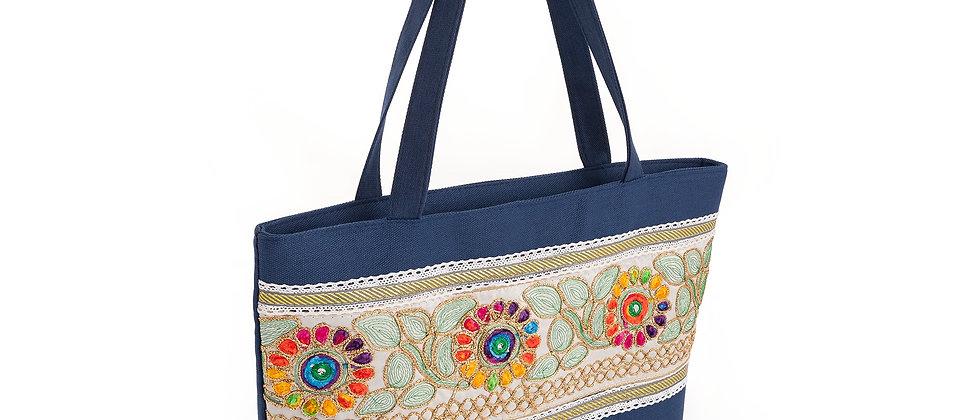 Canvas Bag Navy multicolour flower design shoulder bag Canvas Tote bag