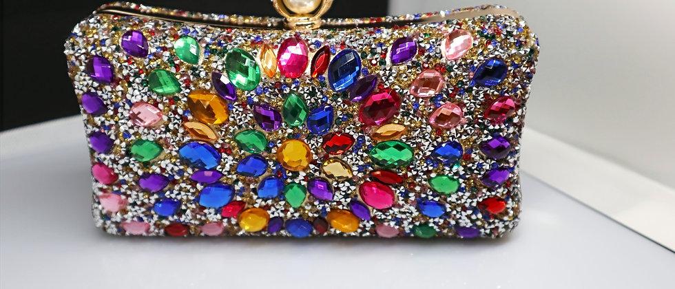 Clutch Purse, Multi Colour Crystal Beaded Evening Metal Clutch Bag
