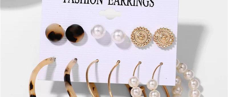 6 Pairs Animal Print and Pearl Design Hoops and Studs Ladies Earrings