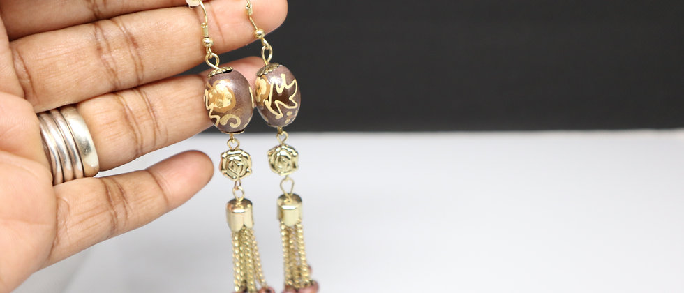 Wooden Beads and Chain Earring