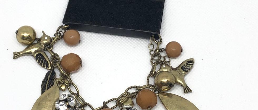 Antique Gold Effect Charm Chain  Bracelet