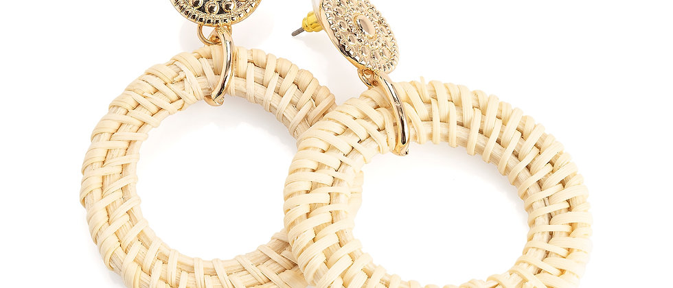Cream Colour Round Drop Earring, Gold colour natural cream tone round earring
