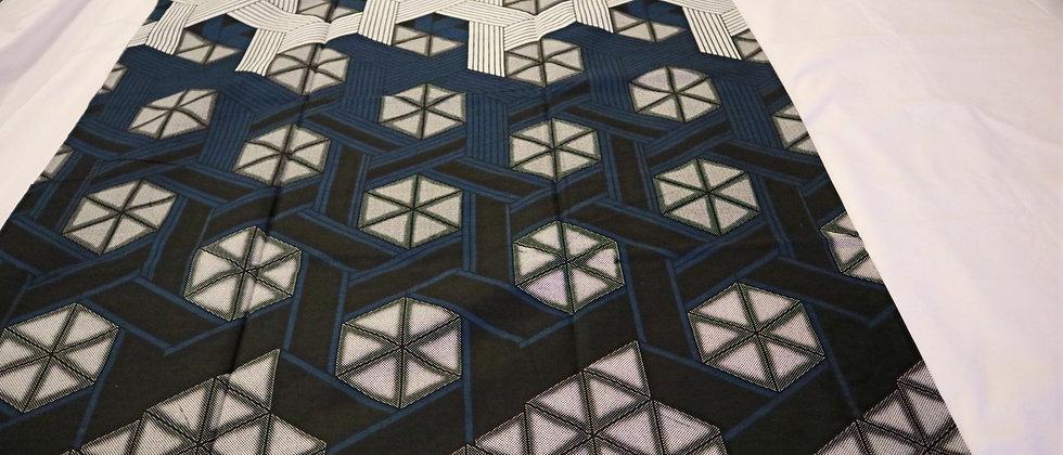 African Ankara Fabric, 6 Yards, Off-White/Black/Navy Blue, Ankara Print