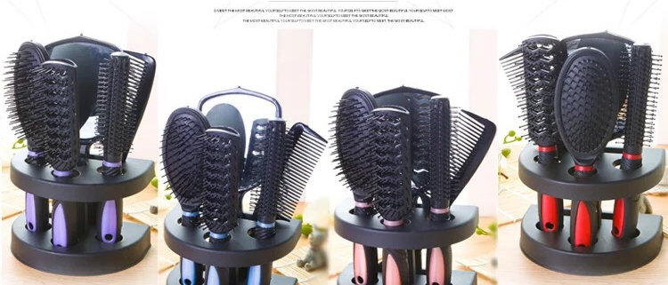 6PCS Hair Brush Comb and Mirror Set With Detangling Nylon Pins