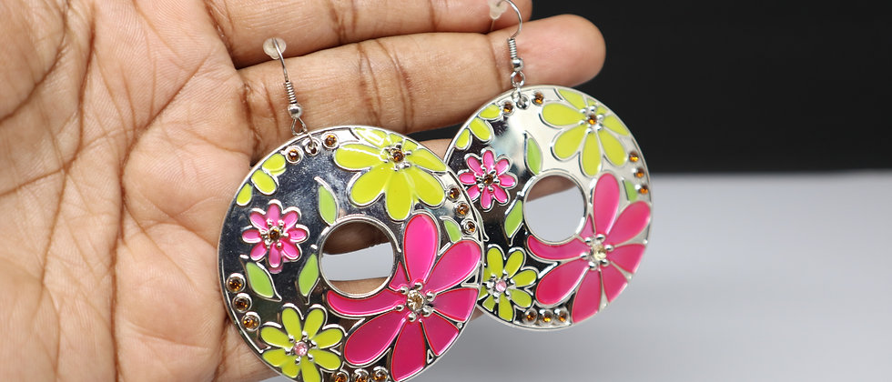 Pink/Yellow Flower Round Dangle Earring