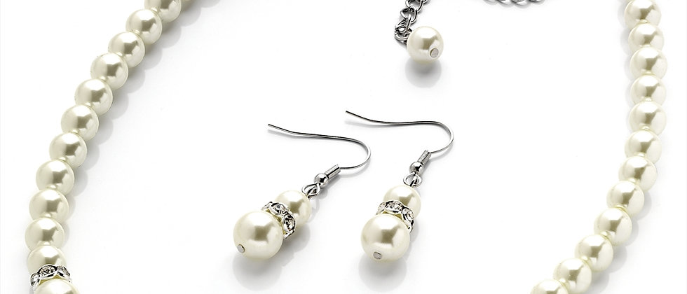 Fabulous Pearl And Diamanté Necklace And Earring Set
