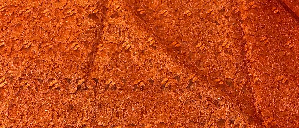 Burnt Orange Cord Lace With Stone